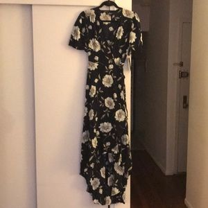 Lulus floral print high low wrap dress L